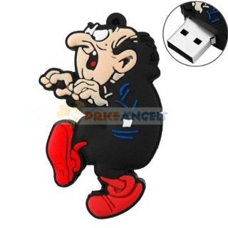 4GB USB Flash Drive Gargamel Shaped with Key Chain Hole 4G Memory Stick U Disk   Black Computers & Accessories