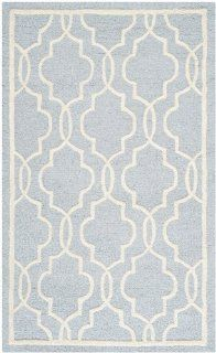 Safavieh Cambridge Collection CAM131A Handmade Wool Area Runner, 2 Feet 6 Inch by 4 Feet, Light Blue and Ivory