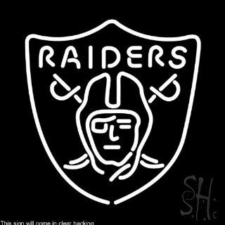 "Oakland Raiders NFL Clear Backing Neon Sign 24"" Tall x 24"" Wide  Business And Store Signs"