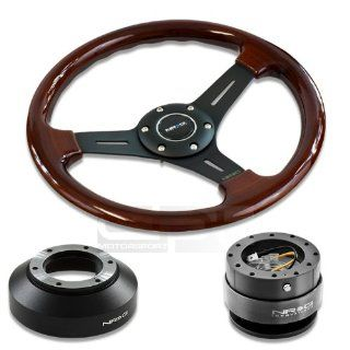 "NRG Innovations 13"" 330mm Deep Dish Style Wood Grain Black Spokes Racing Steering Wheel Combo with 6 Hole Short Hub Adapter with Gen 2.0 Gun Metal Quick Release Kit SRK 141H Automotive"