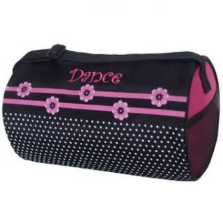 Sassi Design Girls Black Pink Flowers Dots Small Roll Duffel Dance Bag No Clothing
