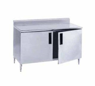 "14 Gauge Advance Tabco HF SS 3012M 30"" x 144"" Enclosed Base Stainless Steel Work Table with Fixed Mi"