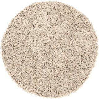 Safavieh Shag Collection SG151 1313 Beige Shag Round Area Rug, 6 Feet 7 Inch Round   Round Floor Rugs