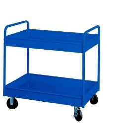 "Equipto 145D BL Heavy Duty Stock Cart with 2 Trays, 800lbs Capacity, 30"" L x 16"" W x 36"" H, Textured Regal Blue"