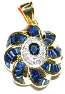 14K Yellow Gold Jewelry Blue Sapphire Diamond Pendant [P_159] Jewelry