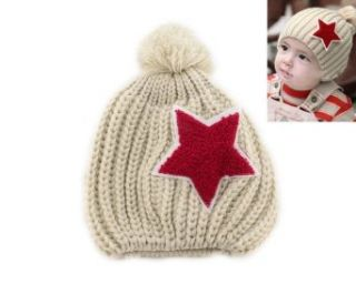 Warm Star Baby Toddler Kid Child Girl Boy Winter Knitted Cap Hat Beanie Beige Clothing