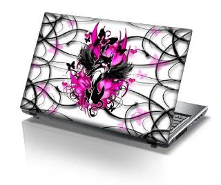 TaylorHe 15.6 inch 15 inch Laptop Skin Vinyl Decal with Colorful Patterns and Leather Effect Laminate MADE IN BRITAIN Pink Cat with Ribbons Computers & Accessories