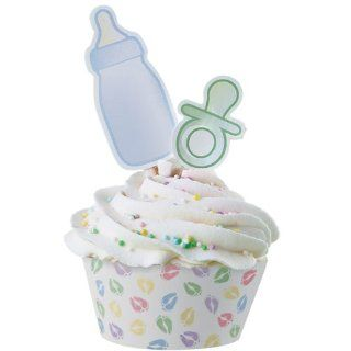 Baby Feet Cupcake Wrappers with Pacifier and Bottle Picks   12/Pack  Other Products