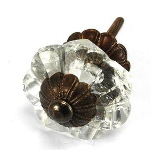 Art Deco Glass Cabinet Knobs, Dresser Drawer Handles & Pull Set/6pc ~ K164FF Art Deco Glass Knobs w/ Antique Brass Florentine Hardware for Armoire, Kitchen Cabinets, Cupboards, and Second Hand Furniture