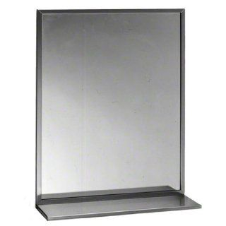 "Bobrick 165 Series 430 Stainless Steel Channel Frame Glass Mirror, Bright Finish, 18"" Width x 36"" Height"