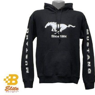 Ford Mustang Black Hooded Sweatshirt W/Script On Sleeves Black Small Bdfmsw165  Sports Fan Sweatshirts  Sports & Outdoors