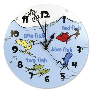 Dr. Seuss ONE FISH TWO FISH 11 in. Wall Clock   Nursery Decor