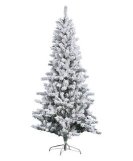 Vickerman Flocked Slim Pine Christmas Tree   Christmas Trees