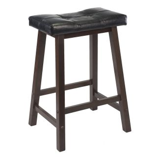 Winsome 24 in. Cushion Saddle Seat Counter Stool with Black Faux Leather   Bar Stools