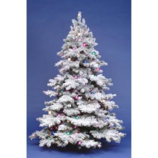 4.5 ft. Flocked Alaskan Full Pre lit Christmas Tree   Christmas Trees