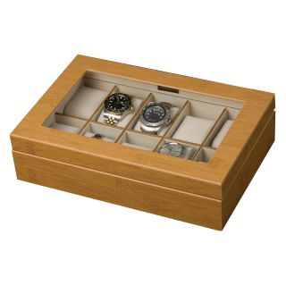 Mele Logan Glass Top Bamboo Watch Box   11.75W x 3H in.   Watch Winders & Watch Boxes