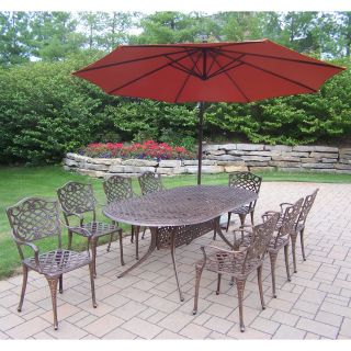 Oakland Living Mississippi Cast Aluminum 82 x 42 in. Oval Patio Dining Set with Cantilever Umbrella   Patio Dining Sets