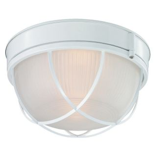 Monte Carlo MC94WH L Cage Disk Outdoor Light Kit   White   Ceiling Fans