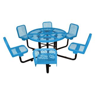 46 in. Round Commercial Grade Picnic Table with 6 Attached Chairs   Picnic Tables