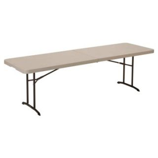 Lifetime 8 ft. Rectangle Commercial Fold In Half Table   White   Banquet Tables
