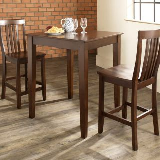 Crosley 3 Piece Pub Dining Set with Tapered Leg and School House Stools   Indoor Bistro Sets