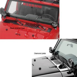 2007 2011 Jeep Wrangler (JK) Cowl Hood   WP Warrior Products, Direct fit, Black diamond plate, Aluminum