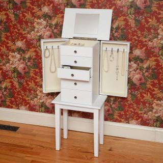 Bay Shore Collection Hampton Bay Jewelry Armoire   White   Jewelry Armoires