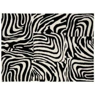 Dynamic Rugs Nolita Collection Handmade Wool Hearth Rug Black/White Stripes   Hearth Rugs