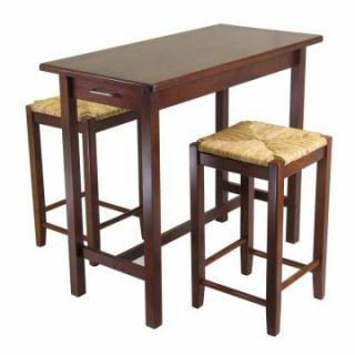 Winsome Wood 3 Piece Pub Set with Rush Stools   Indoor Bistro Sets