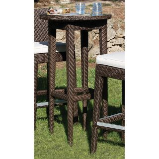 Hospitality Rattan Soho Woven Patio Pub Table   Rehau Fiber Java Brown   Patio Tables