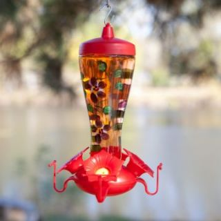 Garden Song Handpainted Glass Funnel Bird Feeder   Bird Feeders