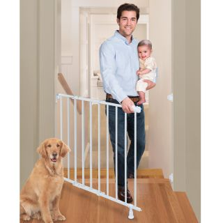 Summer Infant Slide and Lock Top of Stairs Metal Gate   White   Baby Gates
