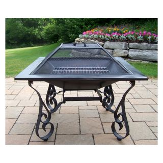 Oakland Living Victoria 33 in. Black Fire Pit with Grill   Fire Pits