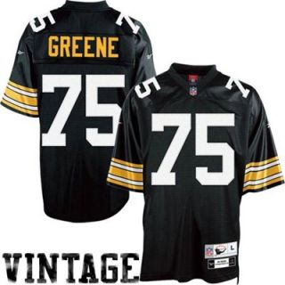 Reebok NFL Equipment Pittsburgh Steelers #75 Joe Greene Black Tackle Twill Throwback Football Jersey