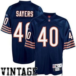 Reebok NFL Equipment Chicago Bears #40 Gale Sayers Navy Blue Tackle Twill Throwback Football Jersey