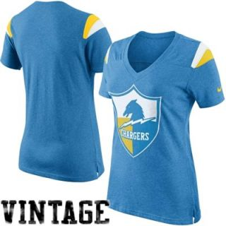 Nike San Diego Chargers Womens Retro Fan V Neck T Shirt   Light Blue
