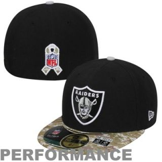 New Era Oakland Raiders Salute To Service On Field 59FIFTY Fitted Performance Hat   Black/Digital Camo