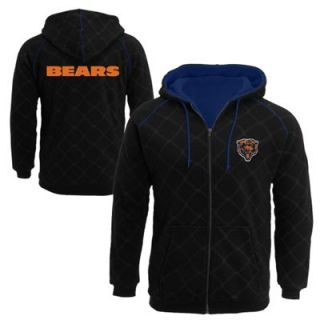 Pro Line Chicago Bears Big Sizes Windowpane Full Zip Hoodie   Black