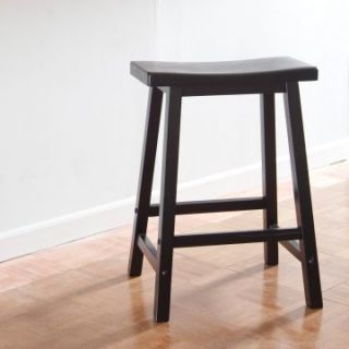 Winsome Wood 24 Inch RTA Single Saddle Seat Counter Stool   Black   Bar Stools