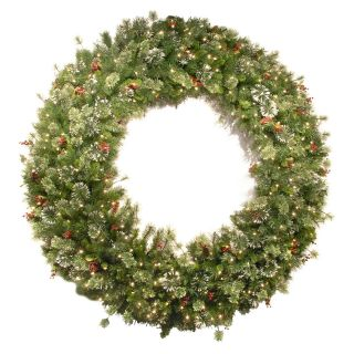 72 in. Wintry Pine Red Berry Pre Lit Wreath   Christmas Wreaths