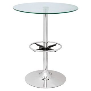 Chintaly Modern Round Glass Top Pub Table   Pub Tables