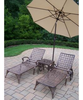 Oakland Living Elite Cast Aluminum Chaise Lounge Chat Set with Tilting Umbrella and Stand   Outdoor Chaise Lounges