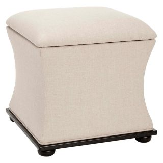 Safavieh Maddox Cream Linen Storage Ottoman Bench   Indoor Benches
