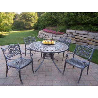 Oakland Living Sunray Cast Aluminum 48 in. Hummingbird Patio Dining Set   Seats 4   Patio Dining Sets
