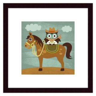 Cowboy Owl on Horse Framed Wall Art   Kids and Nursery Wall Art