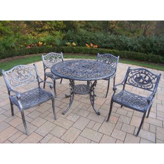 Oakland Living Mississippi Cast Aluminum 42 in. Hummingbird Patio Dining Set   Patio Dining Sets