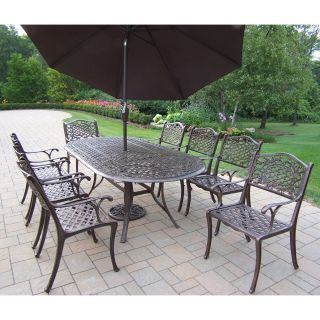 Oakland Living Mississippi Cast Aluminum 82 x 42 in. Oval Patio Dining Set with Tilting Umbrella and Stand   Seats 8   Patio Dining Sets