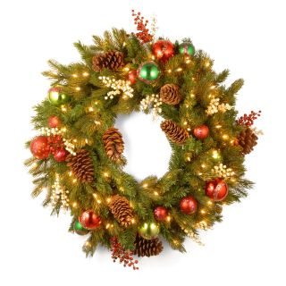 30 in. Decorative Collection Home For the Holidays Pre Lit Christmas Wreath   Christmas Wreaths