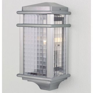 Murray Feiss Monterey Coast Outdoor Half Wall Mount Lantern  15H in. Brushed Aluminum   Outdoor Wall Lights