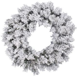 Vickerman Flocked Snow Ridge Wreath   Christmas Wreaths
